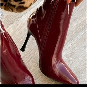 Shoes - WINE FAUX PATENT LEATHER BOOTIES